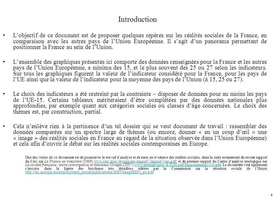 4 Introduction Lobjectif de ce document est de proposer quelques repères sur les réalités sociales de la France, en comparaison avec les autres pays d