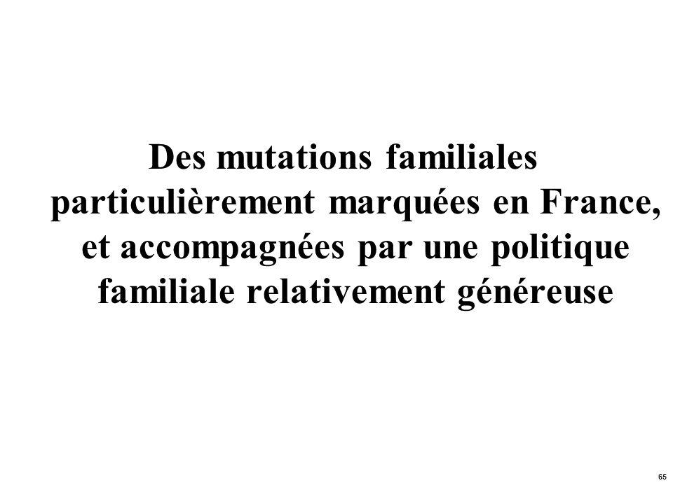 65 Des mutations familiales particulièrement marquées en France, et accompagnées par une politique familiale relativement généreuse