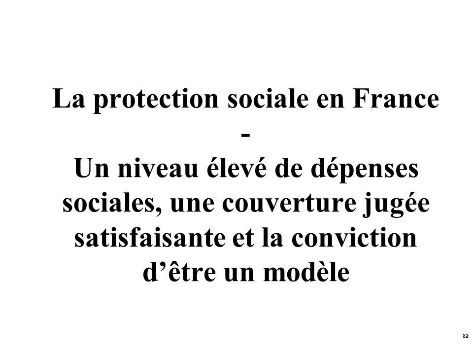 82 La protection sociale en France - Un niveau élevé de dépenses sociales, une couverture jugée satisfaisante et la conviction dêtre un modèle