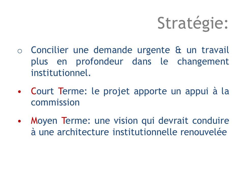 Stratégie: o Concilier une demande urgente & un travail plus en profondeur dans le changement institutionnel.