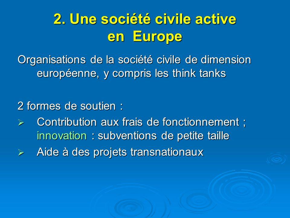 2. Une société civile active en Europe Organisations de la société civile de dimension européenne, y compris les think tanks 2 formes de soutien : Con