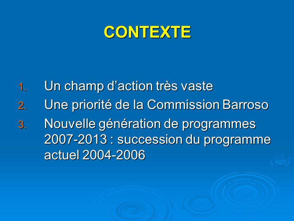 CONTEXTE 1. Un champ daction très vaste 2. Une priorité de la Commission Barroso 3.