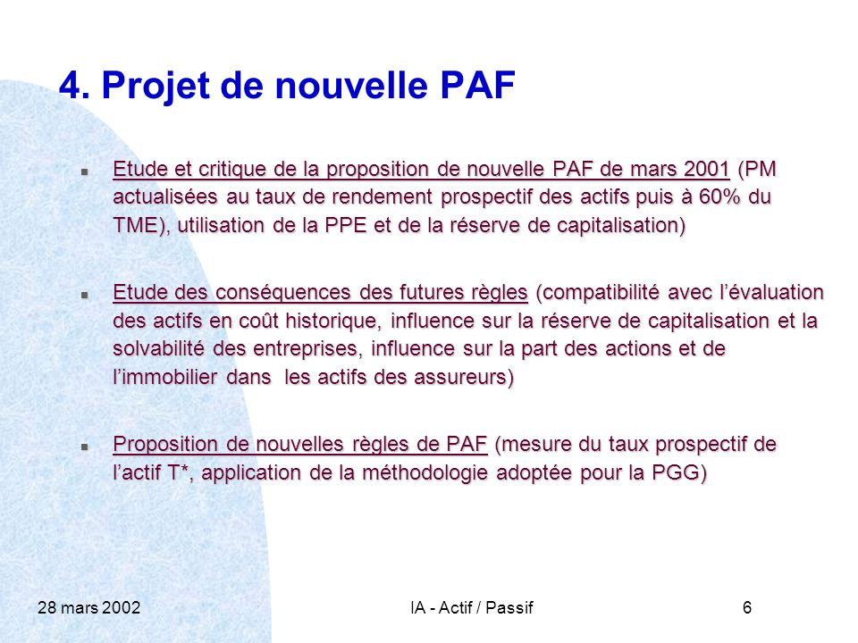 28 mars 2002IA - Actif / Passif6 4.