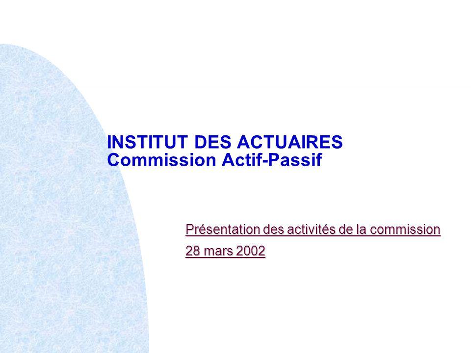 INSTITUT DES ACTUAIRES Commission Actif-Passif Présentation des activités de la commission 28 mars 2002