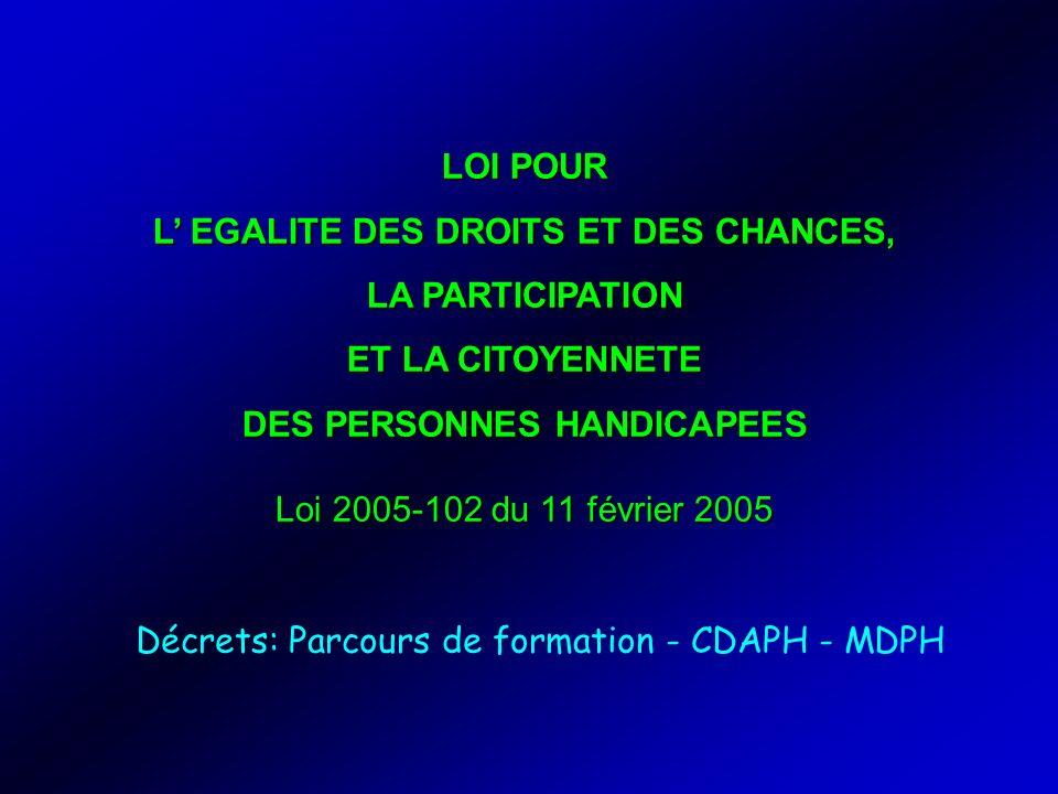 LOI POUR L EGALITE DES DROITS ET DES CHANCES, LA PARTICIPATION ET LA CITOYENNETE DES PERSONNES HANDICAPEES Loi 2005-102 du 11 février 2005 Décrets: Pa