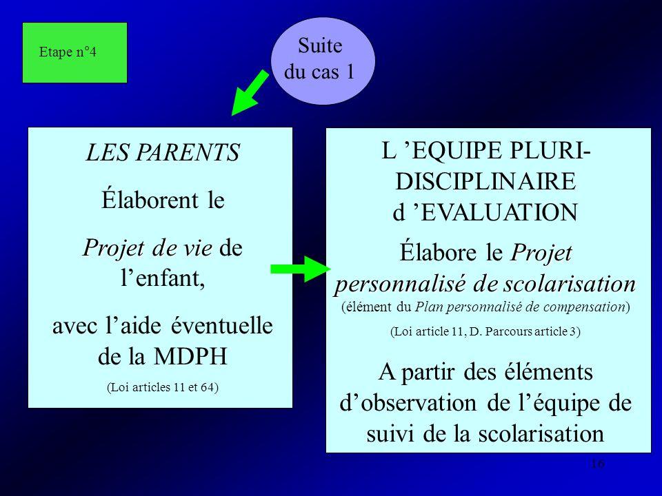 16 Suite du cas 1 LES PARENTS Élaborent le Projet de vie Projet de vie de lenfant, avec laide éventuelle de la MDPH (Loi articles 11 et 64) L EQUIPE P