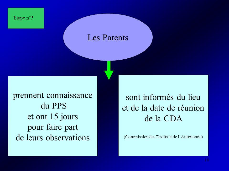 18 Les Parents prennent connaissance du PPS et ont 15 jours pour faire part de leurs observations sont informés du lieu et de la date de réunion de la