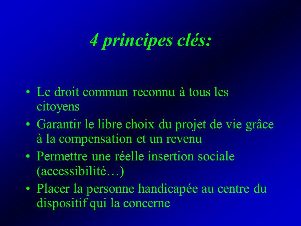 4 principes clés: Le droit commun reconnu à tous les citoyens Garantir le libre choix du projet de vie grâce à la compensation et un revenu Permettre