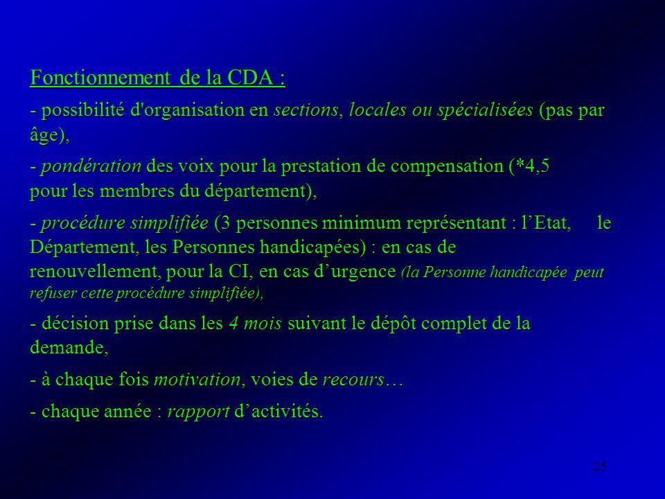 25 Fonctionnement de la CDA : - possibilité d'organisation en sections, locales ou spécialisées (pas par âge), - pondération des voix pour la prestati