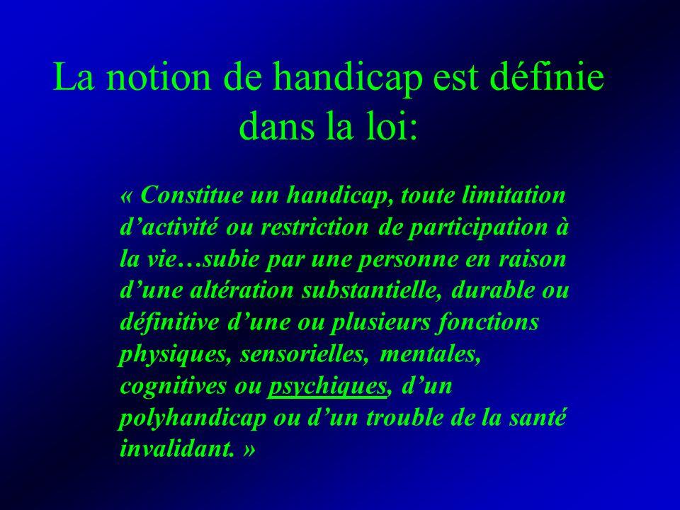 La notion de handicap est définie dans la loi: « Constitue un handicap, toute limitation dactivité ou restriction de participation à la vie…subie par