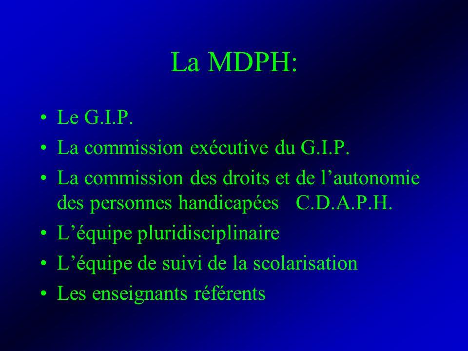 La MDPH: Le G.I.P. La commission exécutive du G.I.P. La commission des droits et de lautonomie des personnes handicapées C.D.A.P.H. Léquipe pluridisci