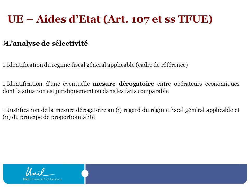 UE – Aides dEtat (Art. 107 et ss TFUE) Lanalyse de sélectivité 1.Identification du régime fiscal général applicable (cadre de référence) 1.Identificat