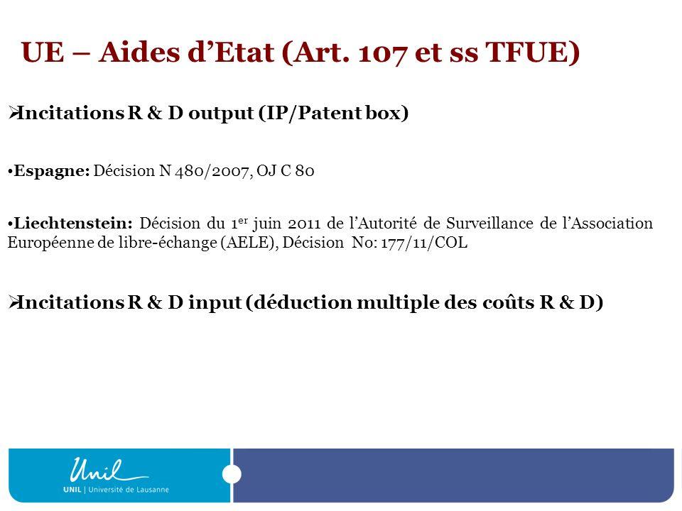 UE – Aides dEtat (Art. 107 et ss TFUE) Incitations R & D output (IP/Patent box) Espagne: Décision N 480/2007, OJ C 80 Liechtenstein: Décision du 1 er