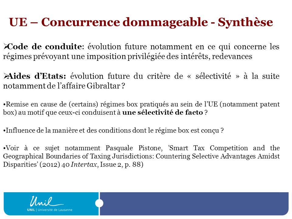 UE – Concurrence dommageable - Synthèse Code de conduite: évolution future notamment en ce qui concerne les régimes prévoyant une imposition privilégi