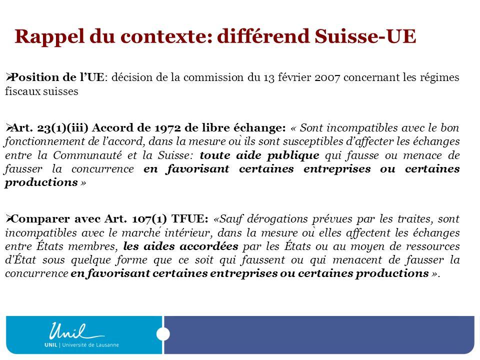 Rappel du contexte: différend Suisse-UE Position de lUE: décision de la commission du 13 février 2007 concernant les régimes fiscaux suisses Art. 23(1