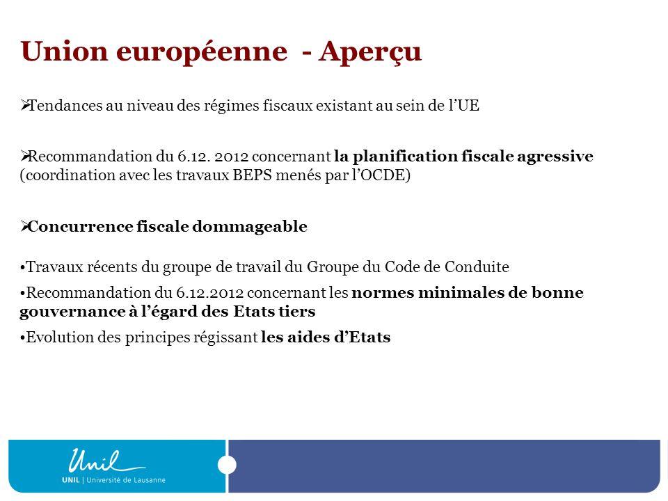 Union européenne - Aperçu Tendances au niveau des régimes fiscaux existant au sein de lUE Recommandation du 6.12. 2012 concernant la planification fis