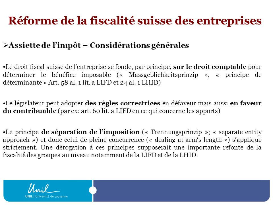 Réforme de la fiscalité suisse des entreprises Assiette de limpôt – Considérations générales Le droit fiscal suisse de lentreprise se fonde, par princ