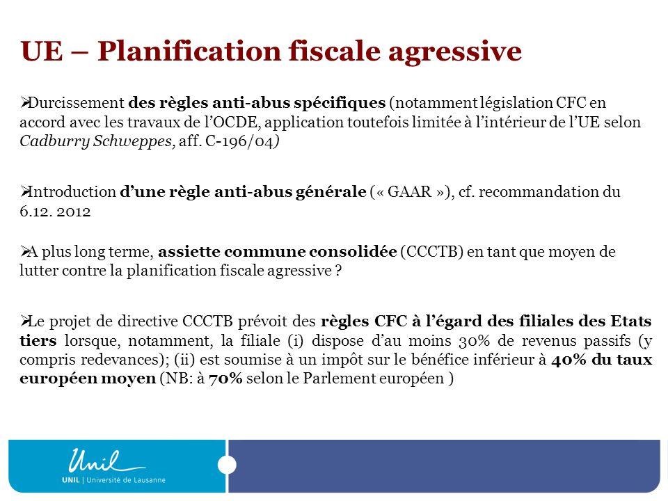 UE – Planification fiscale agressive Durcissement des règles anti-abus spécifiques (notamment législation CFC en accord avec les travaux de lOCDE, app