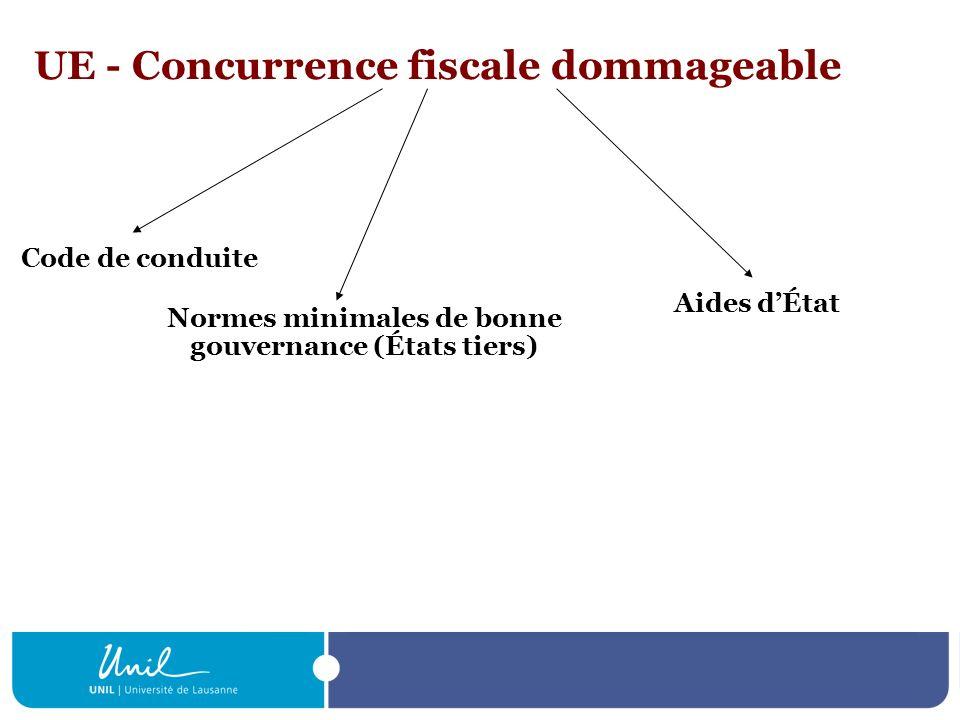 UE - Concurrence fiscale dommageable Code de conduite Aides dÉtat Normes minimales de bonne gouvernance (États tiers)