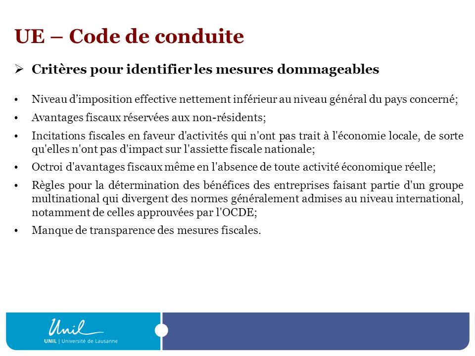 UE – Code de conduite Critères pour identifier les mesures dommageables Niveau dimposition effective nettement inférieur au niveau général du pays con