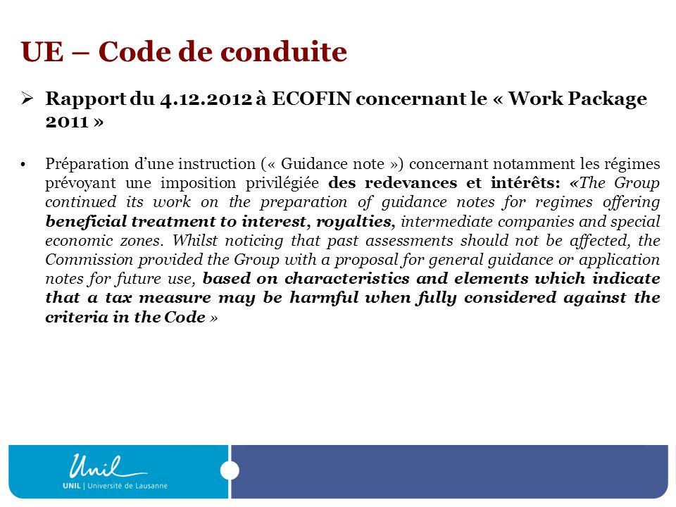 UE – Etats tiers (bonne gouvernance fiscale) Recommandation de la commission du 6.12.2012 Critères analogues à ceux du code de conduite Les Etats membres tiennent compte des conclusions du groupe «Code de conduite» Contres mesures à légard des Etats tiers (listes noires, etc.)