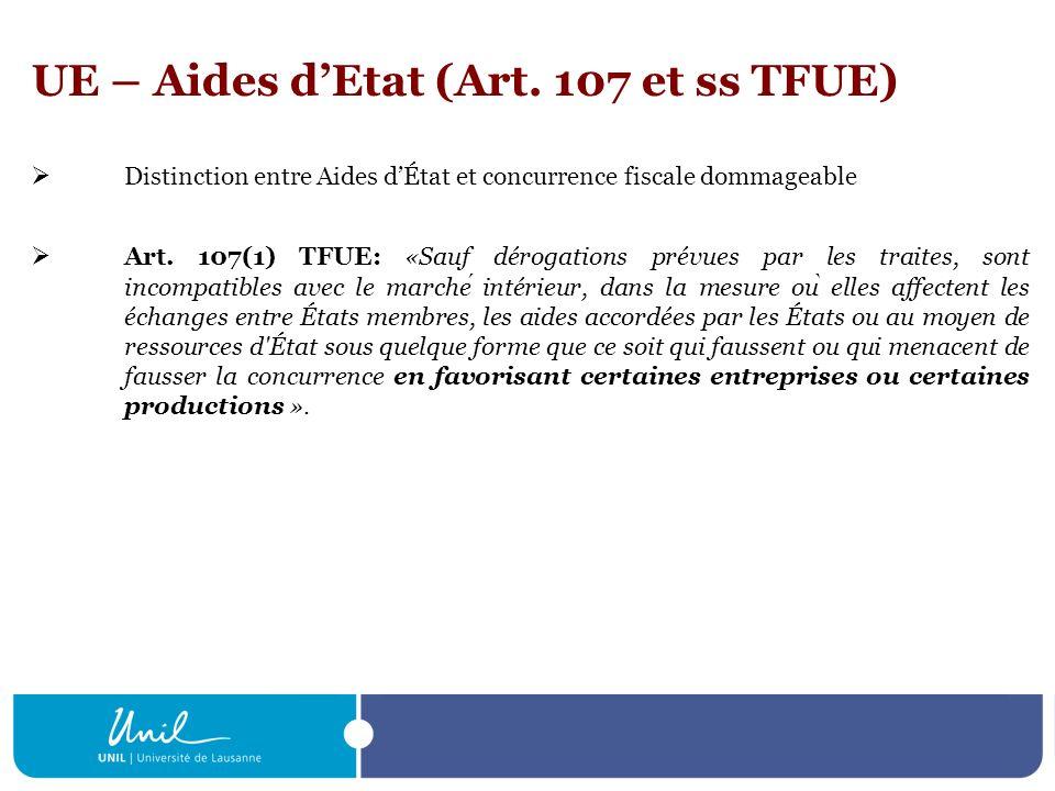 UE – Aides dEtat (Art. 107 et ss TFUE) Distinction entre Aides dÉtat et concurrence fiscale dommageable Art. 107(1) TFUE: «Sauf dérogations prévues pa