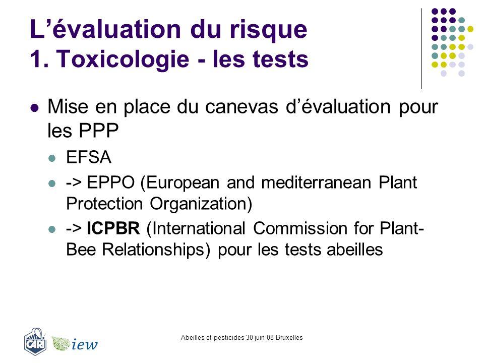 Abeilles et pesticides 30 juin 08 Bruxelles Lévaluation du risque 1. Toxicologie - les tests Mise en place du canevas dévaluation pour les PPP EFSA ->