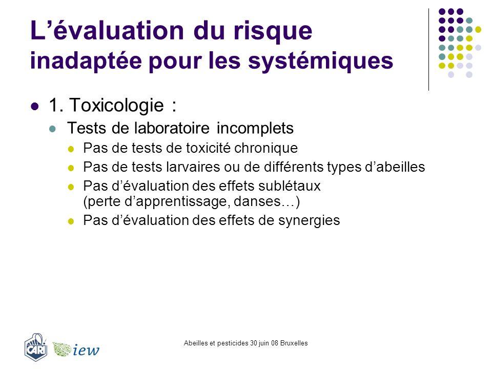 Abeilles et pesticides 30 juin 08 Bruxelles Lévaluation du risque inadaptée pour les systémiques 1. Toxicologie : Tests de laboratoire incomplets Pas