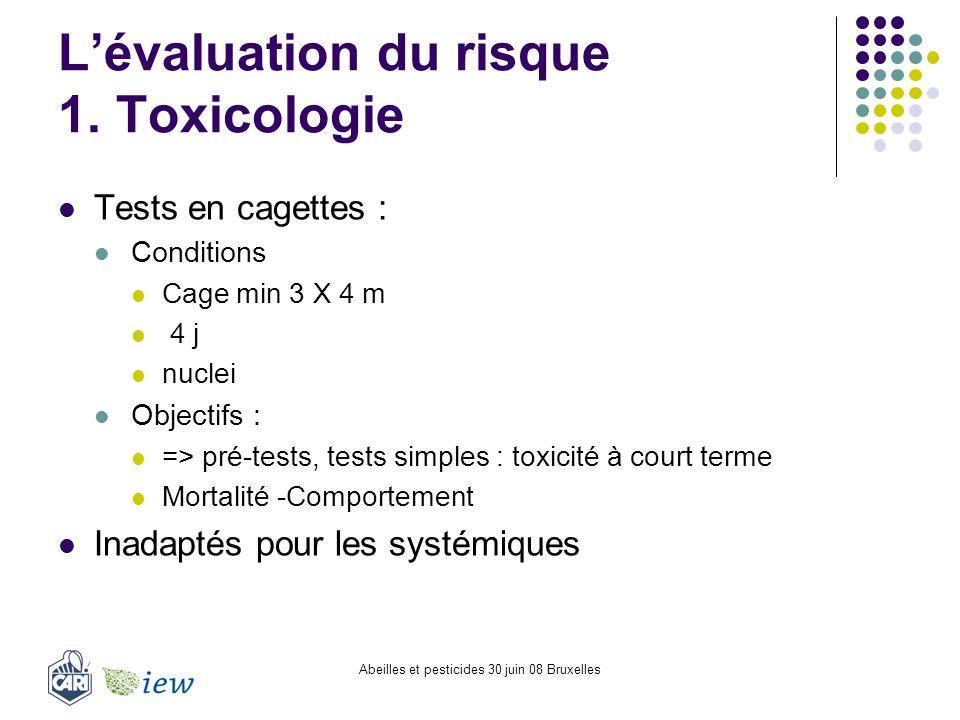 Abeilles et pesticides 30 juin 08 Bruxelles Lévaluation du risque 1. Toxicologie Tests en cagettes : Conditions Cage min 3 X 4 m 4 j nuclei Objectifs