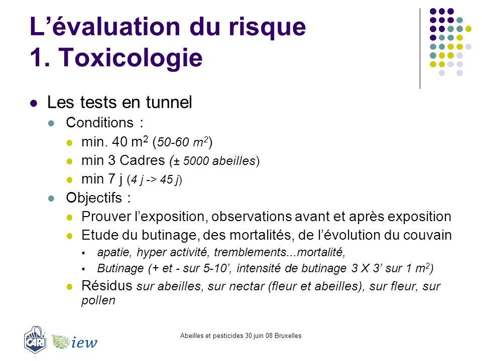 Abeilles et pesticides 30 juin 08 Bruxelles Lévaluation du risque 1. Toxicologie Les tests en tunnel Conditions : min. 40 m 2 ( 50-60 m 2 ) min 3 Cadr
