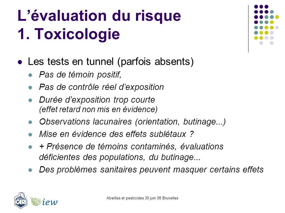 Abeilles et pesticides 30 juin 08 Bruxelles Lévaluation du risque 1. Toxicologie Les tests en tunnel (parfois absents) Pas de témoin positif, Pas de c