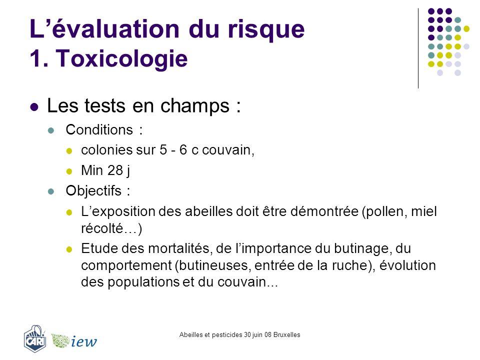 Abeilles et pesticides 30 juin 08 Bruxelles Lévaluation du risque 1. Toxicologie Les tests en champs : Conditions : colonies sur 5 - 6 c couvain, Min