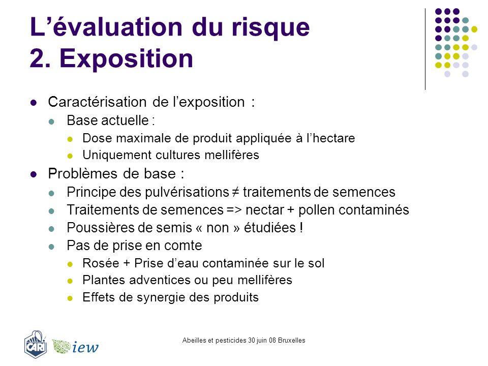 Abeilles et pesticides 30 juin 08 Bruxelles Lévaluation du risque 2. Exposition Caractérisation de lexposition : Base actuelle : Dose maximale de prod