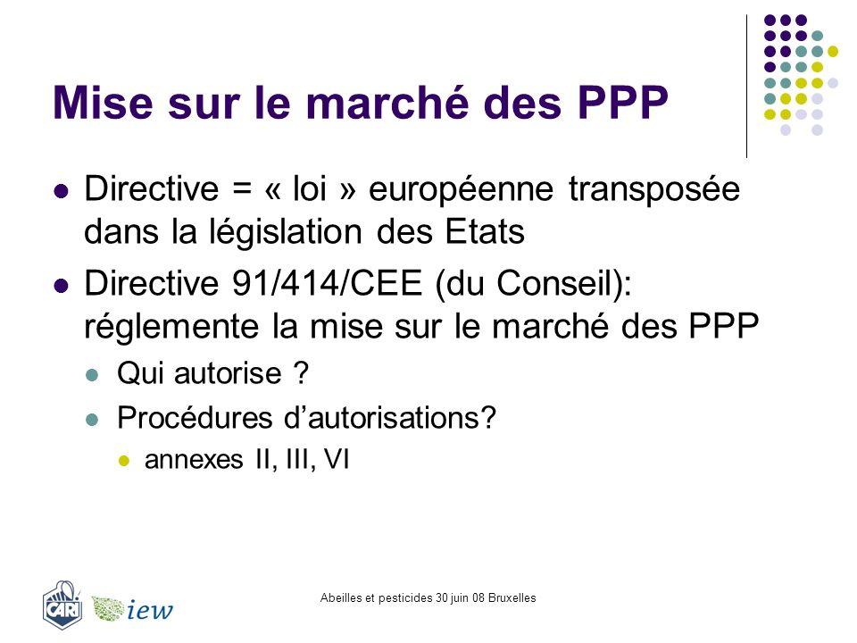 Abeilles et pesticides 30 juin 08 Bruxelles Mise sur le marché des PPP Directive = « loi » européenne transposée dans la législation des Etats Directi