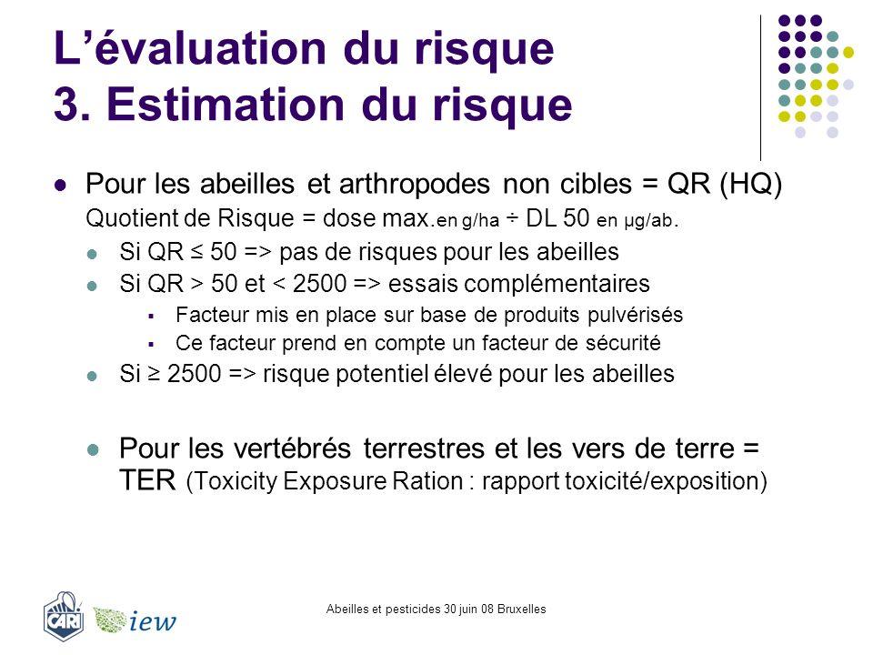 Abeilles et pesticides 30 juin 08 Bruxelles Lévaluation du risque 3. Estimation du risque Pour les abeilles et arthropodes non cibles = QR (HQ) Quotie