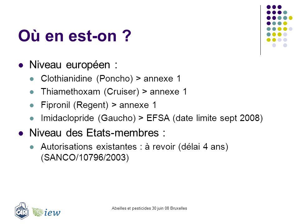 Abeilles et pesticides 30 juin 08 Bruxelles Où en est-on ? Niveau européen : Clothianidine (Poncho) > annexe 1 Thiamethoxam (Cruiser) > annexe 1 Fipro