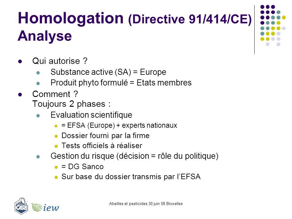 Abeilles et pesticides 30 juin 08 Bruxelles Homologation (Directive 91/414/CE) Analyse Qui autorise ? Substance active (SA) = Europe Produit phyto for