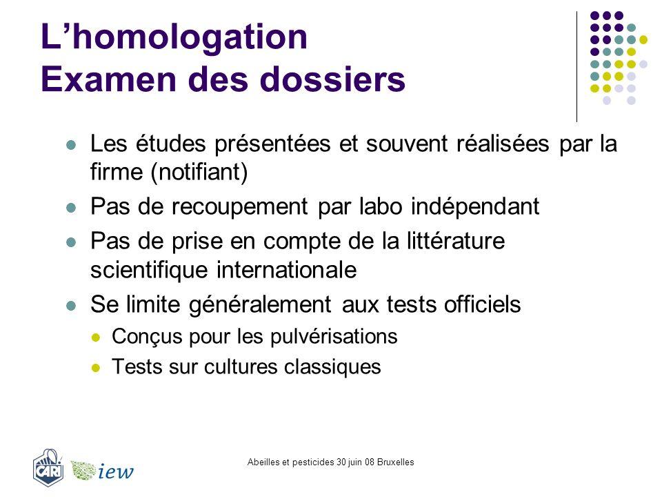 Abeilles et pesticides 30 juin 08 Bruxelles Lhomologation Examen des dossiers Les études présentées et souvent réalisées par la firme (notifiant) Pas