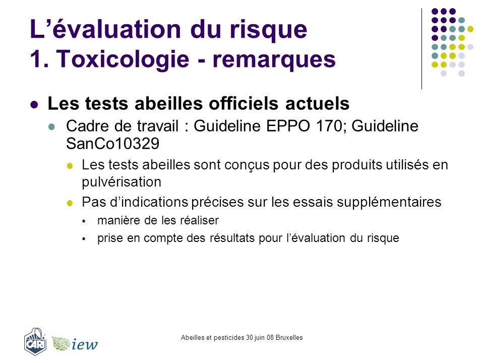 Abeilles et pesticides 30 juin 08 Bruxelles Lévaluation du risque 1. Toxicologie - remarques Les tests abeilles officiels actuels Cadre de travail : G