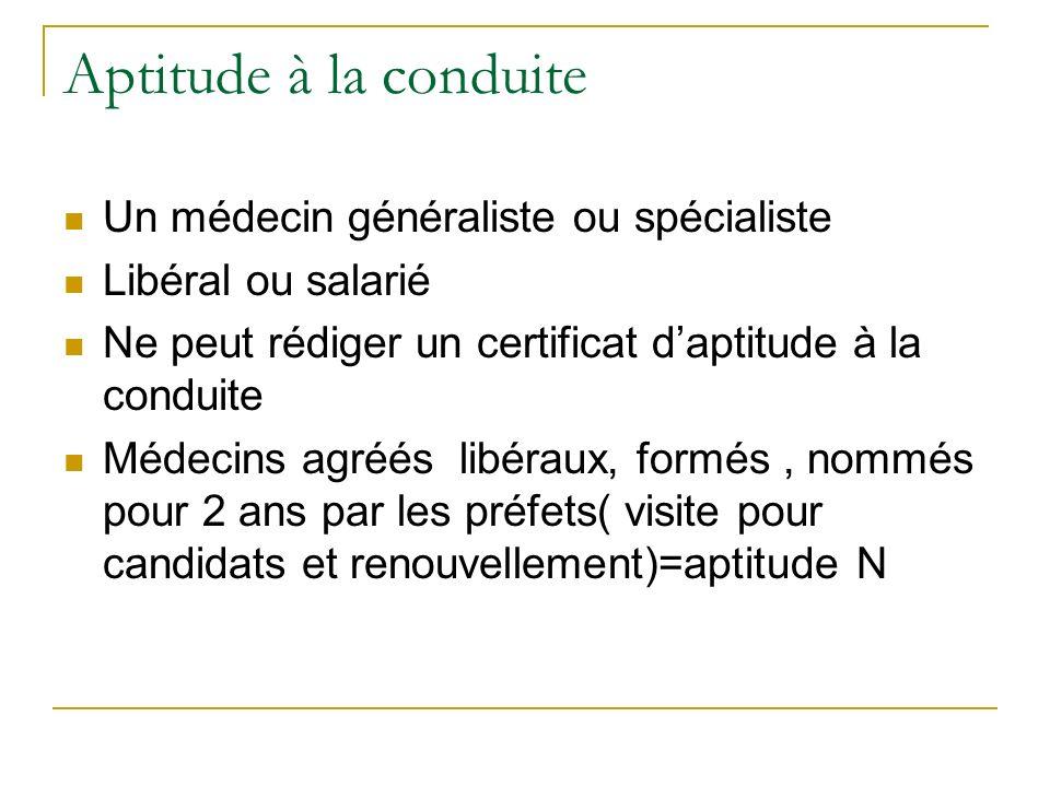 Aptitude à la conduite Un médecin généraliste ou spécialiste Libéral ou salarié Ne peut rédiger un certificat daptitude à la conduite Médecins agréés