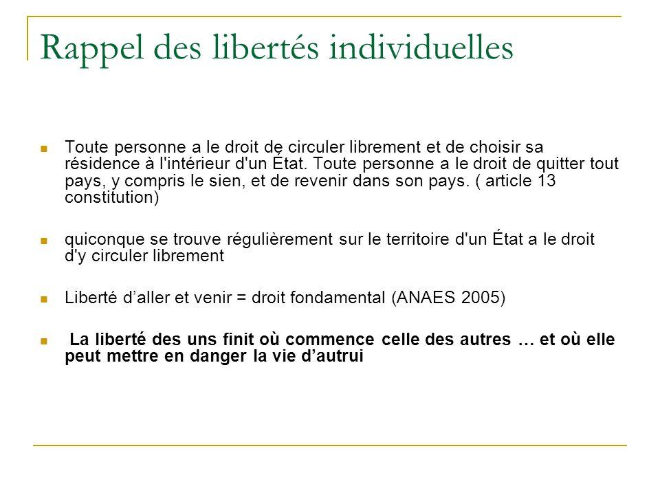 Rappel des libertés individuelles Toute personne a le droit de circuler librement et de choisir sa résidence à l'intérieur d'un État. Toute personne a