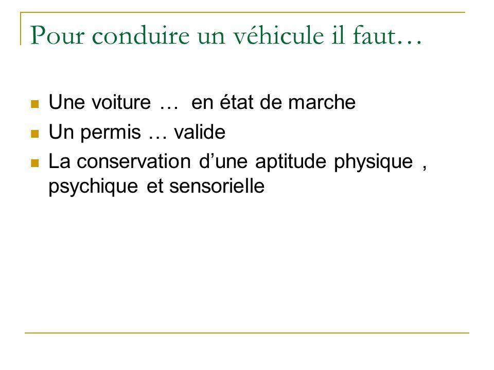 Pour conduire un véhicule il faut… Une voiture … en état de marche Un permis … valide La conservation dune aptitude physique, psychique et sensorielle