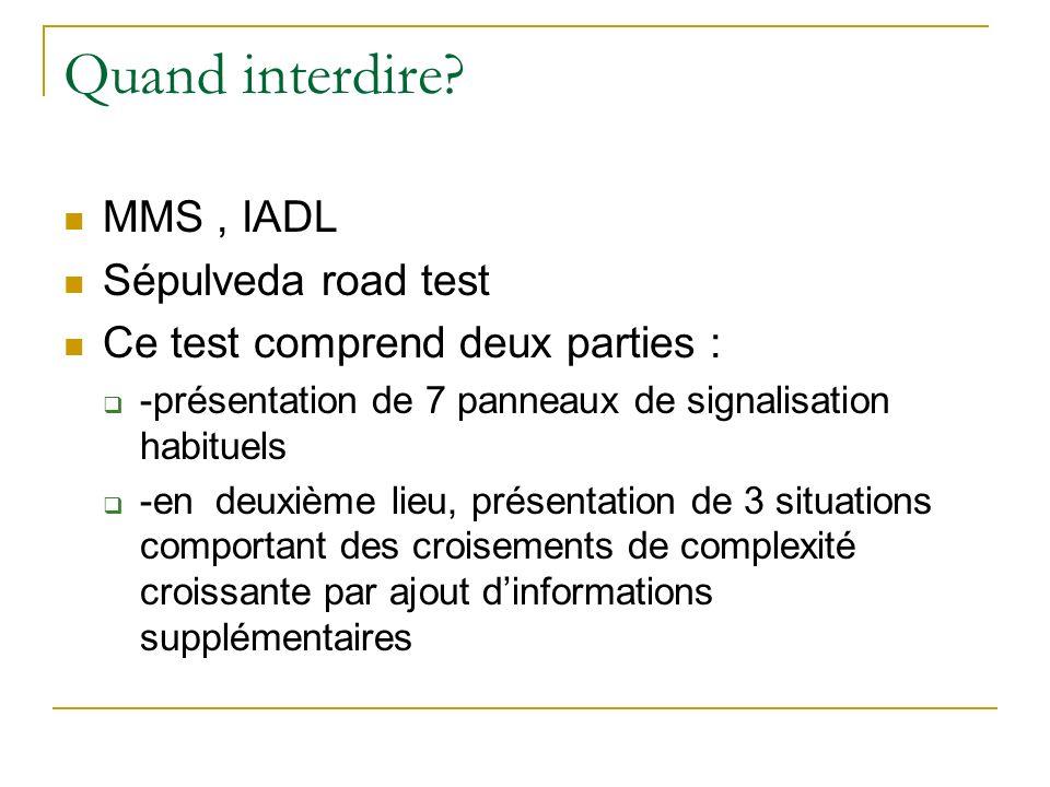 Quand interdire? MMS, IADL Sépulveda road test Ce test comprend deux parties : -présentation de 7 panneaux de signalisation habituels -en deuxième lie