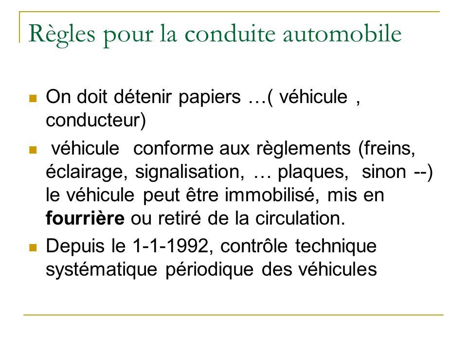 Règles pour la conduite automobile On doit détenir papiers …( véhicule, conducteur) véhicule conforme aux règlements (freins, éclairage, signalisation
