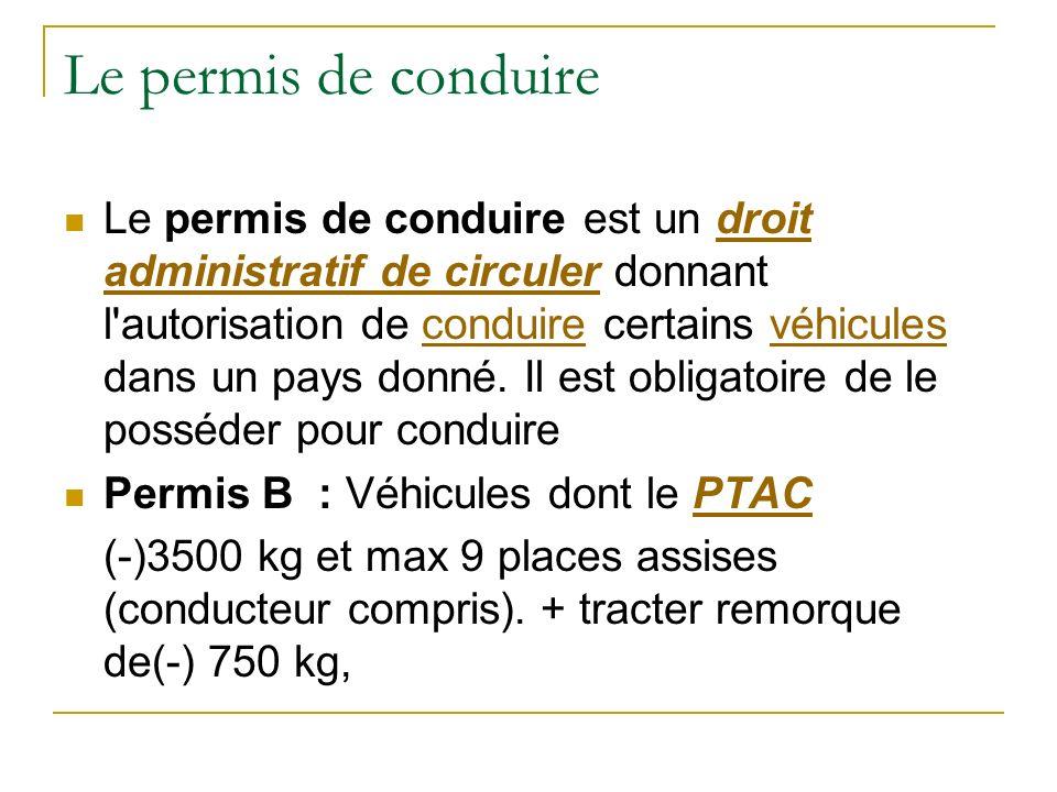 Le permis de conduire Le permis de conduire est un droit administratif de circuler donnant l'autorisation de conduire certains véhicules dans un pays