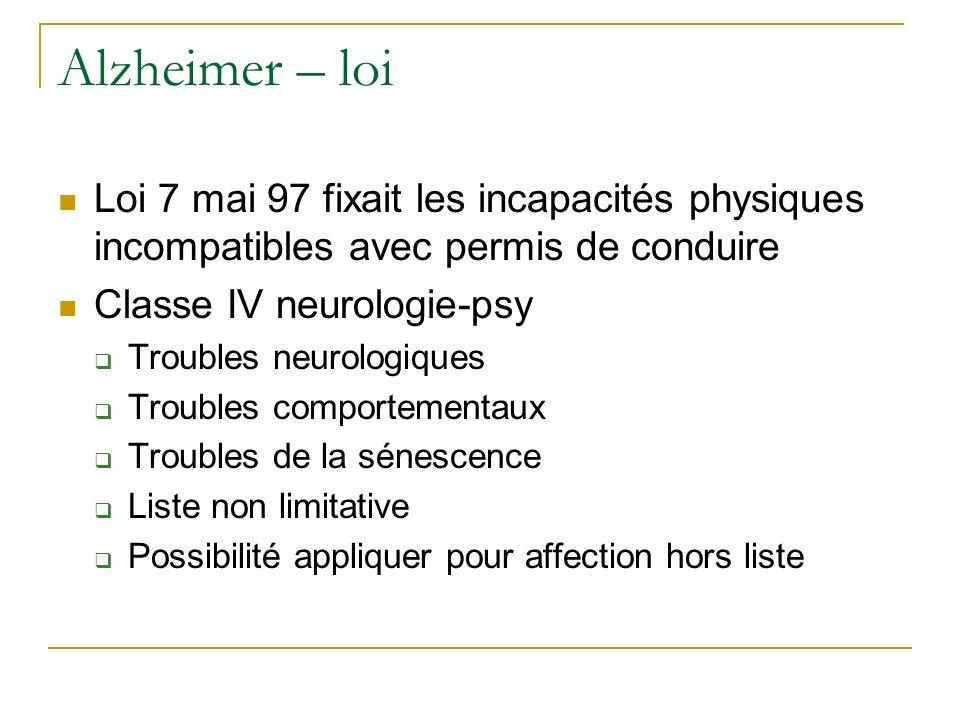 Alzheimer – loi Loi 7 mai 97 fixait les incapacités physiques incompatibles avec permis de conduire Classe IV neurologie-psy Troubles neurologiques Tr
