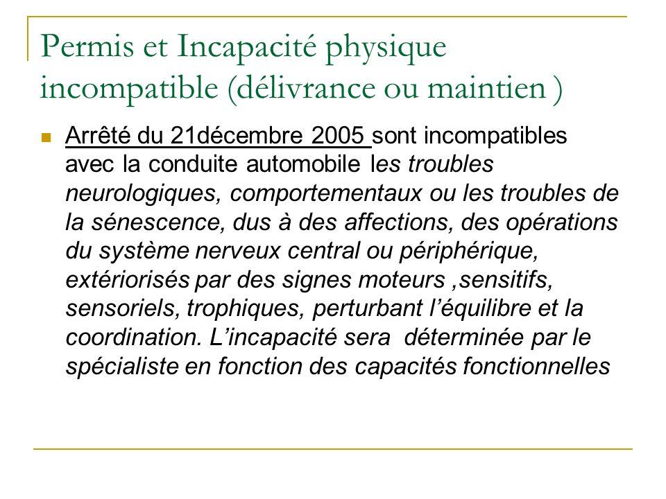 Permis et Incapacité physique incompatible (délivrance ou maintien ) Arrêté du 21décembre 2005 sont incompatibles avec la conduite automobile les trou