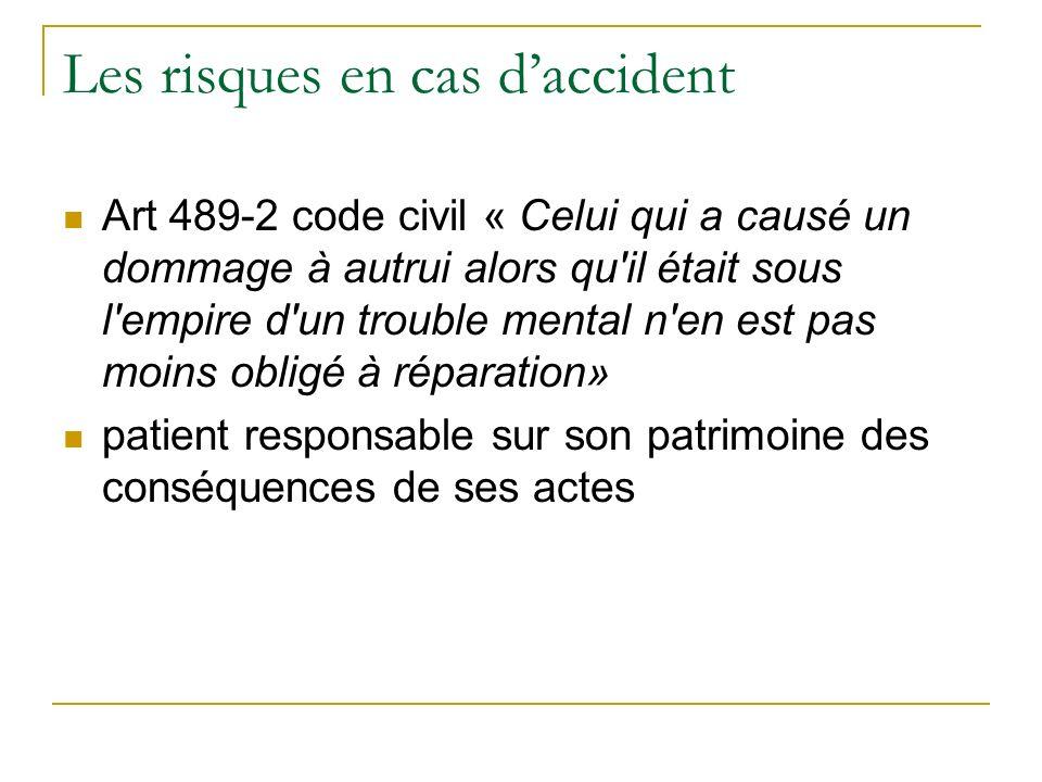 Les risques en cas daccident Art 489-2 code civil « Celui qui a causé un dommage à autrui alors qu'il était sous l'empire d'un trouble mental n'en est