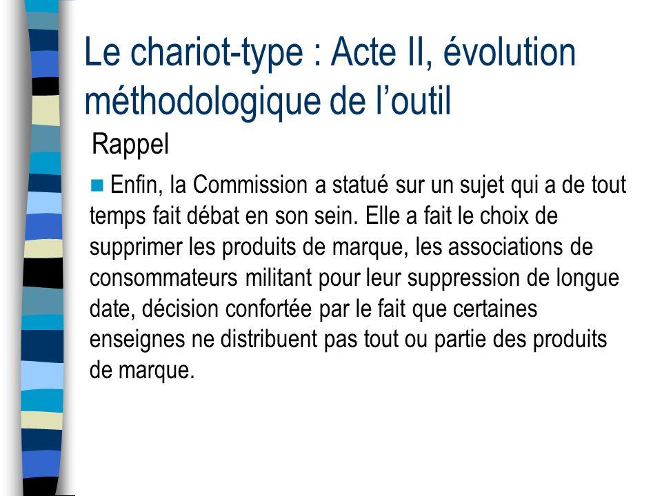 Le chariot-type : Acte II, évolution méthodologique de loutil Rappel Enfin, la Commission a statué sur un sujet qui a de tout temps fait débat en son sein.