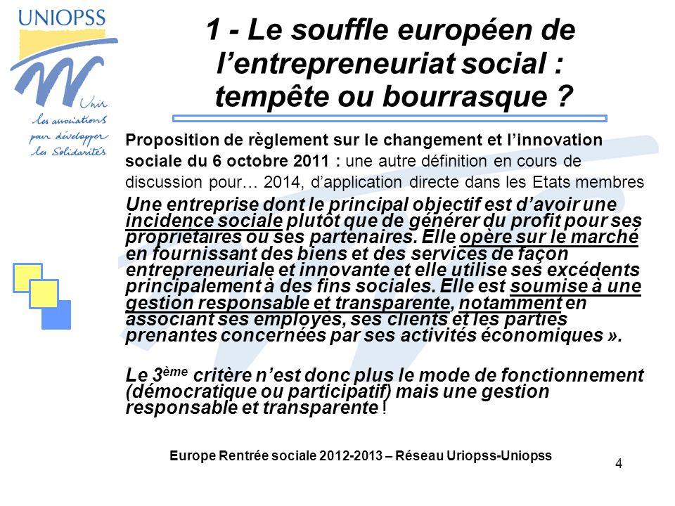 4 Europe Rentrée sociale 2012-2013 – Réseau Uriopss-Uniopss 1 - Le souffle européen de lentrepreneuriat social : tempête ou bourrasque .
